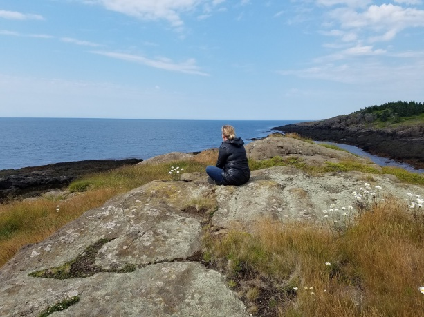 Billie contemplating life at Beautiful Cove, Long Island NS